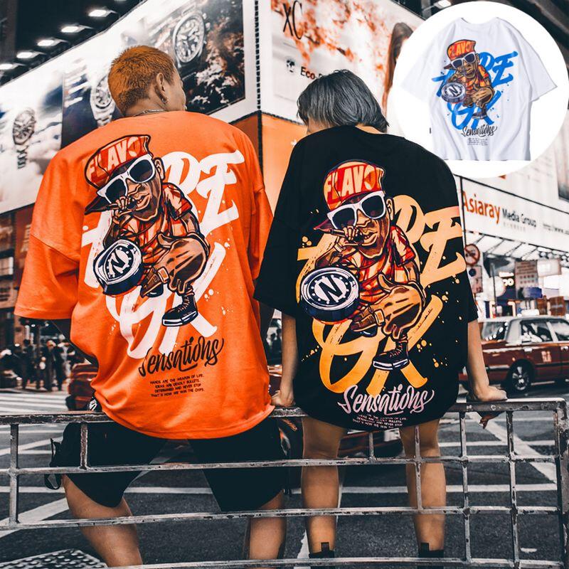 ユニセックス Tシャツ 半袖 メンズ レディース ラウンドネック 英字 ラッパー プリント オーバーサイズ 大きいサイズ ルーズ ストリート