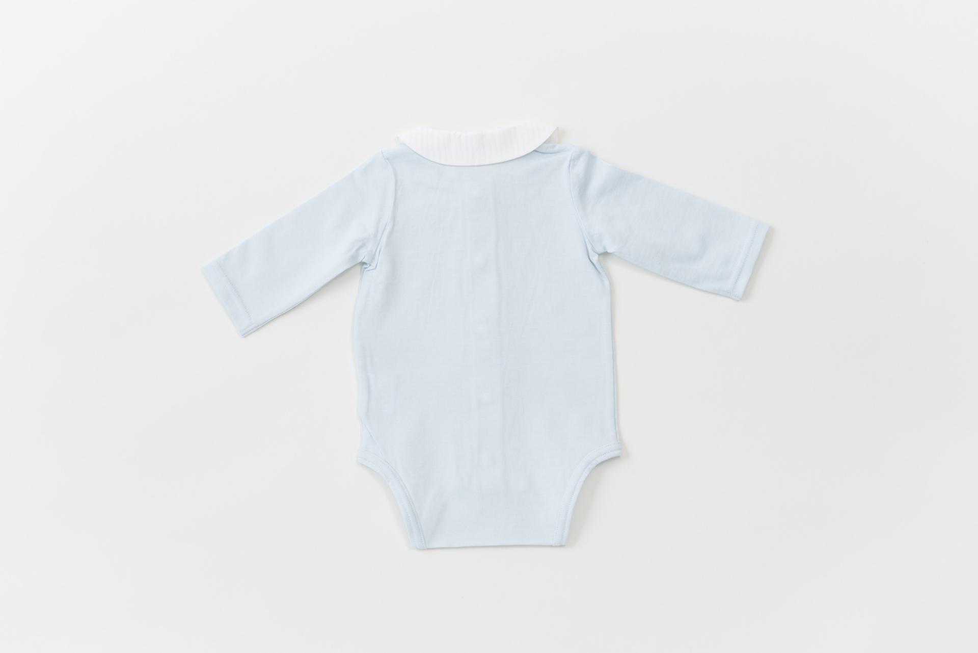 襟つきロンパース ブルー (長袖・足なし)