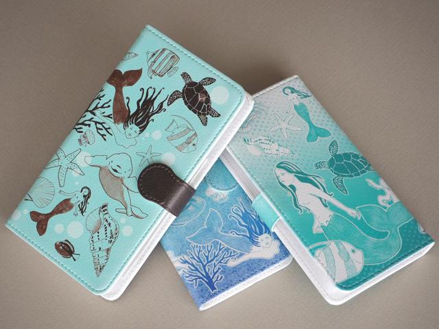 【送料無料】マーメイドとお散歩〜手帳型スマホケース《受注生産:iPhone,Android対応》