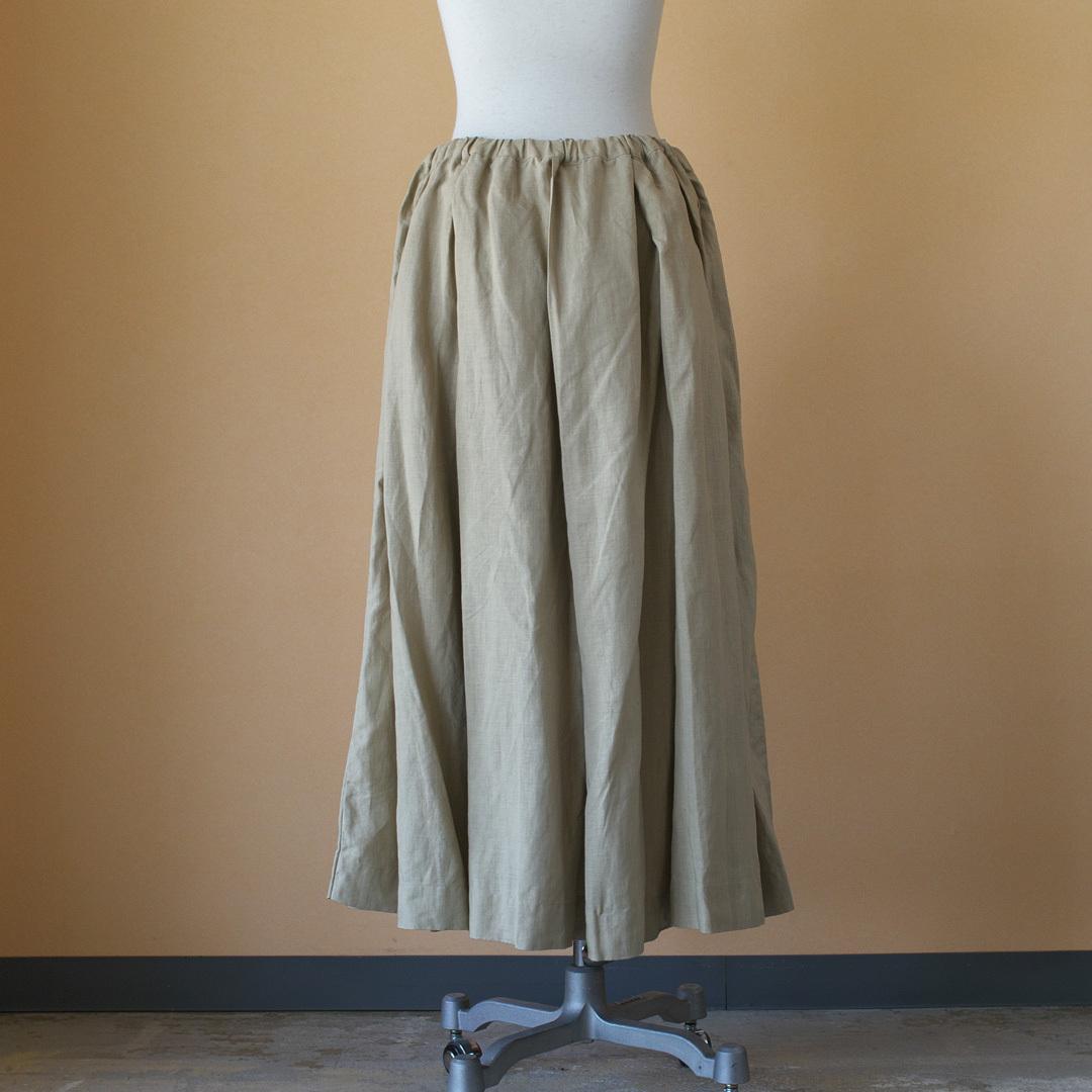 Gauze# ガーゼ G504 linen pleated skirt リネンプリーツスカート・ベージュ