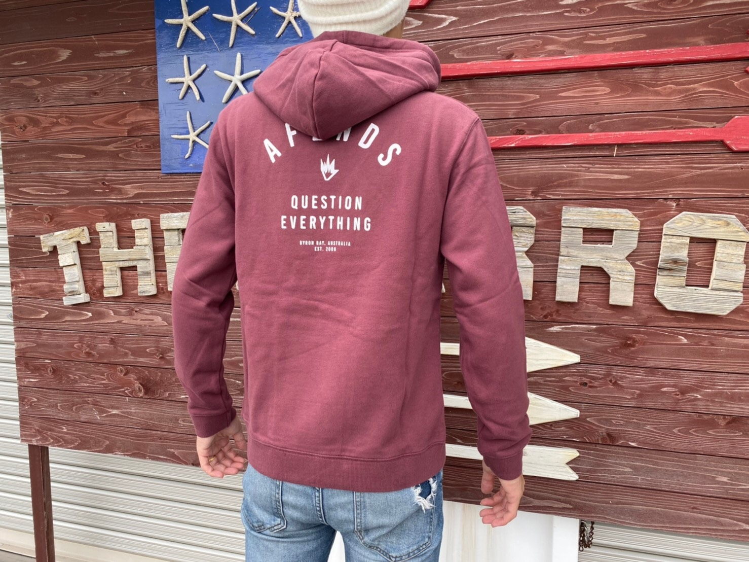【Afends.】 PUBLIC PULL OVER HOOD (oxblood)