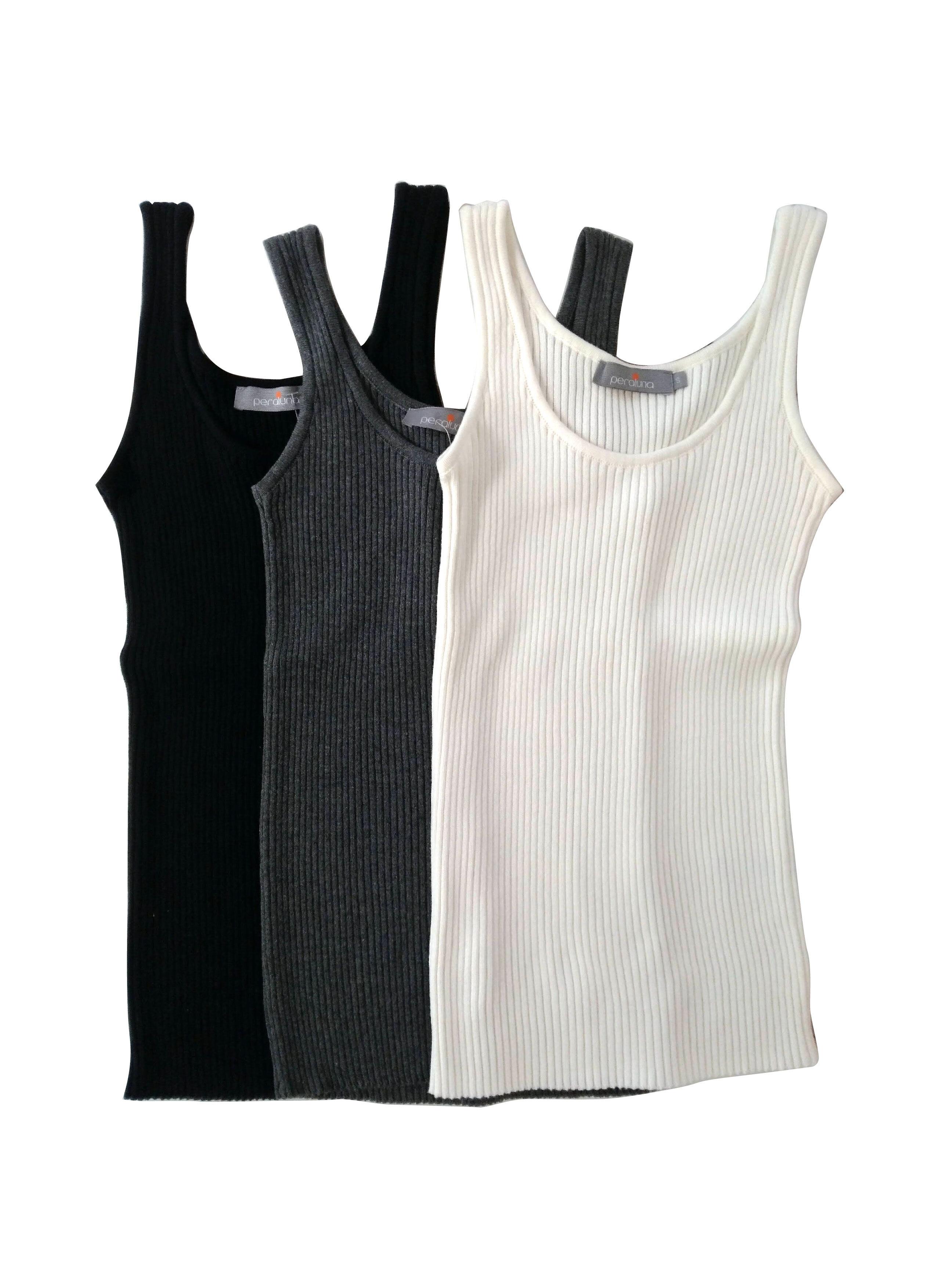 Cotton100 Basic knitting Rib Tanktops 3P ベーシックニットリブコットンタンクトップ3点セット