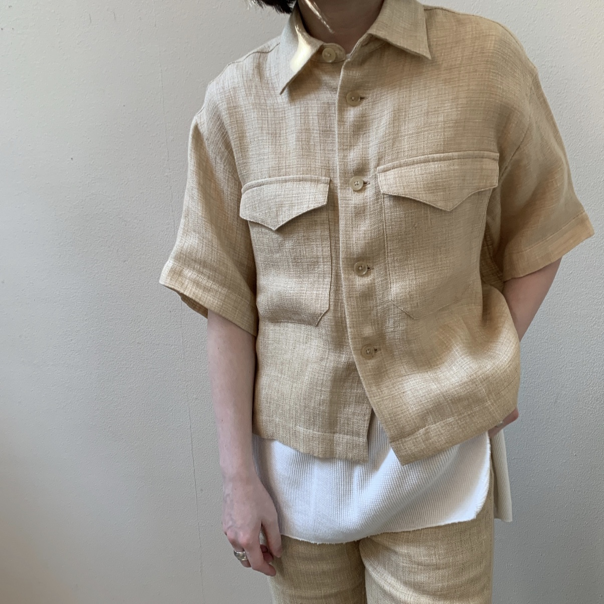 AURALEE - LINEN DOUBLE FACE HARF SLEEVED SHIRTS