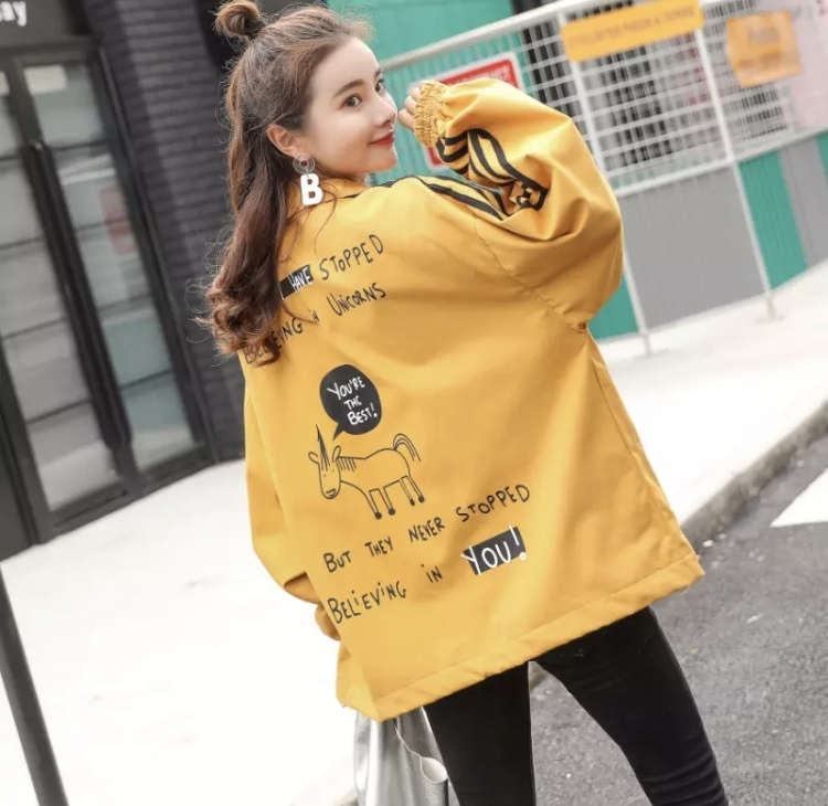 レディースファッション ジャケット 春 バックプリント おしゃれ ワンポイント カジュアル 新作 トレンド アウター☆03204