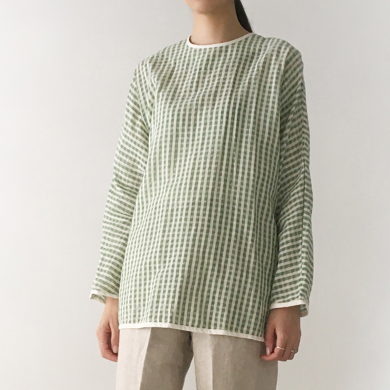 """Over Size Pullover """"green check"""""""
