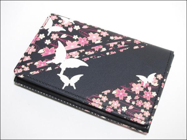 和柄プリント名刺入れ(桜と蝶)/牛革製