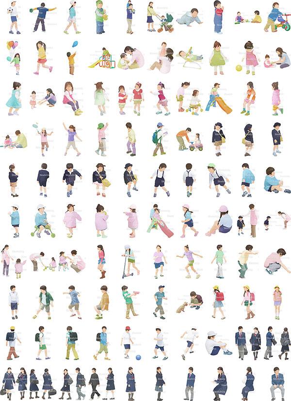 SketchUp素材子供イラスト100個-淡い 4aa_030 - 画像3