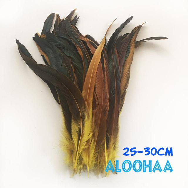ロングフェザー 【黄色】25~30cm タヒチアン 衣装 材料 ルースターテール 染め 羽根