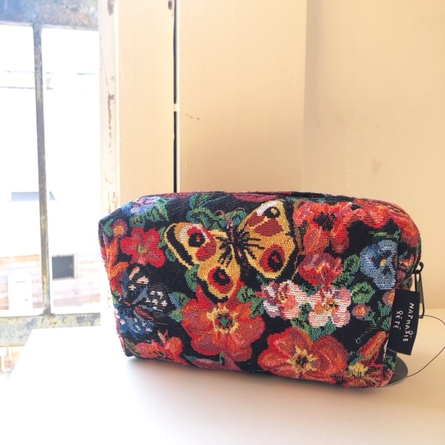 Nathalie Lete square pouch / Butterfly&flower ナタリーレテ ゴブラン織ポーチ