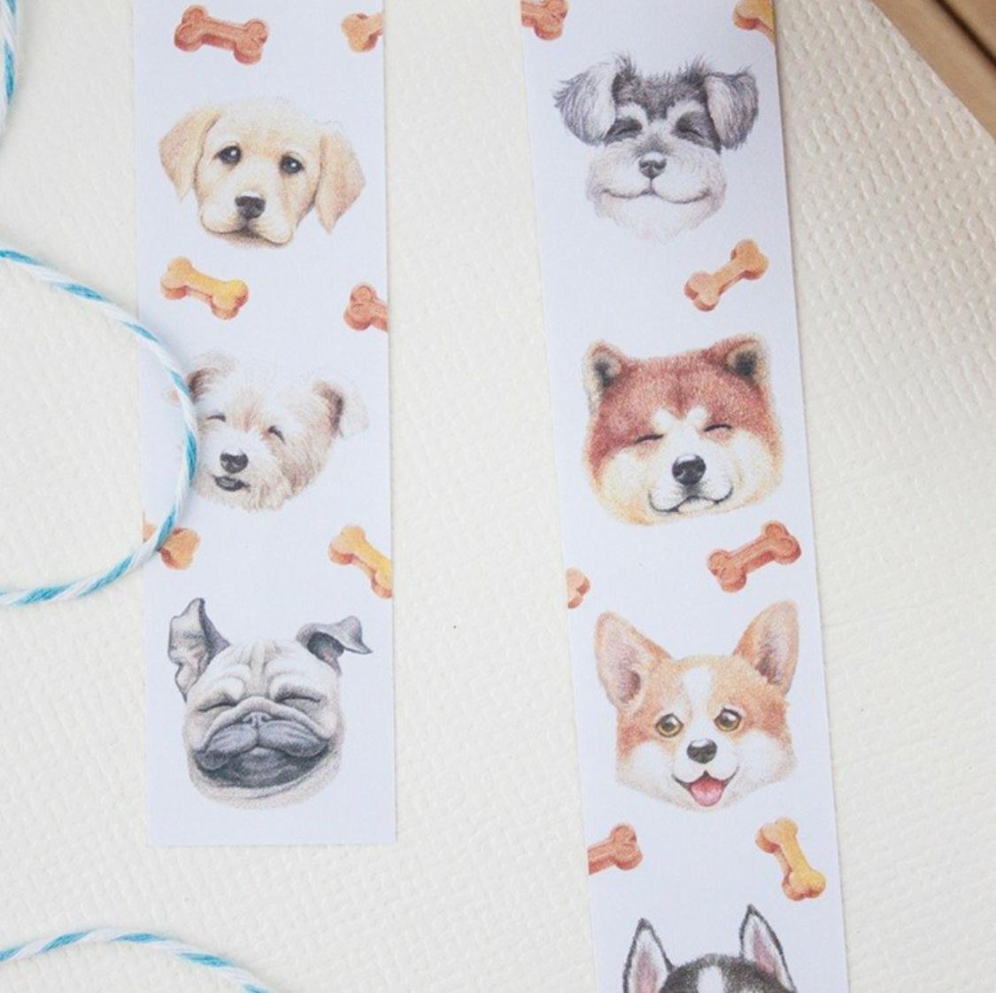 樂意] hi dogs スマイル犬柄 マスキングテープ | 呷意(ガイ)台湾雑貨店