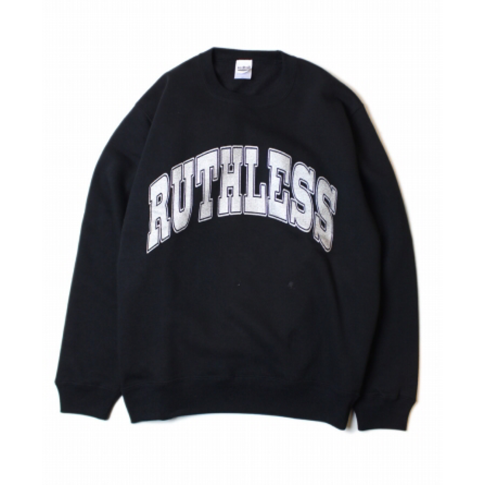 RUTHLESS #College Logo Crew Neck Sweat Black