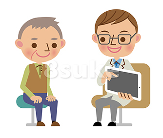 イラスト素材:タブレット端末を使って患者へ説明する問診中の医師(ベクター・JPG)