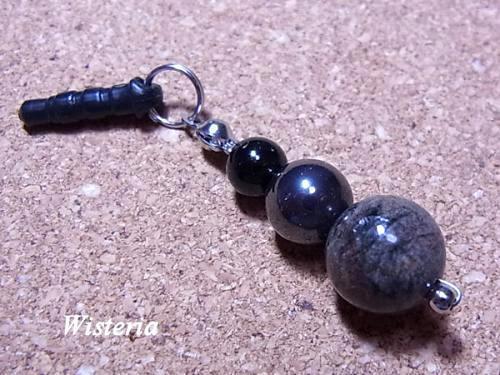 ガーデン水晶×ヘマタイト×ブラックトルマリン ストラップ(スマホピアス・チャーム)