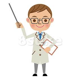 イラスト素材:指し棒で解説する医者・ドクター(ベクター・JPG)