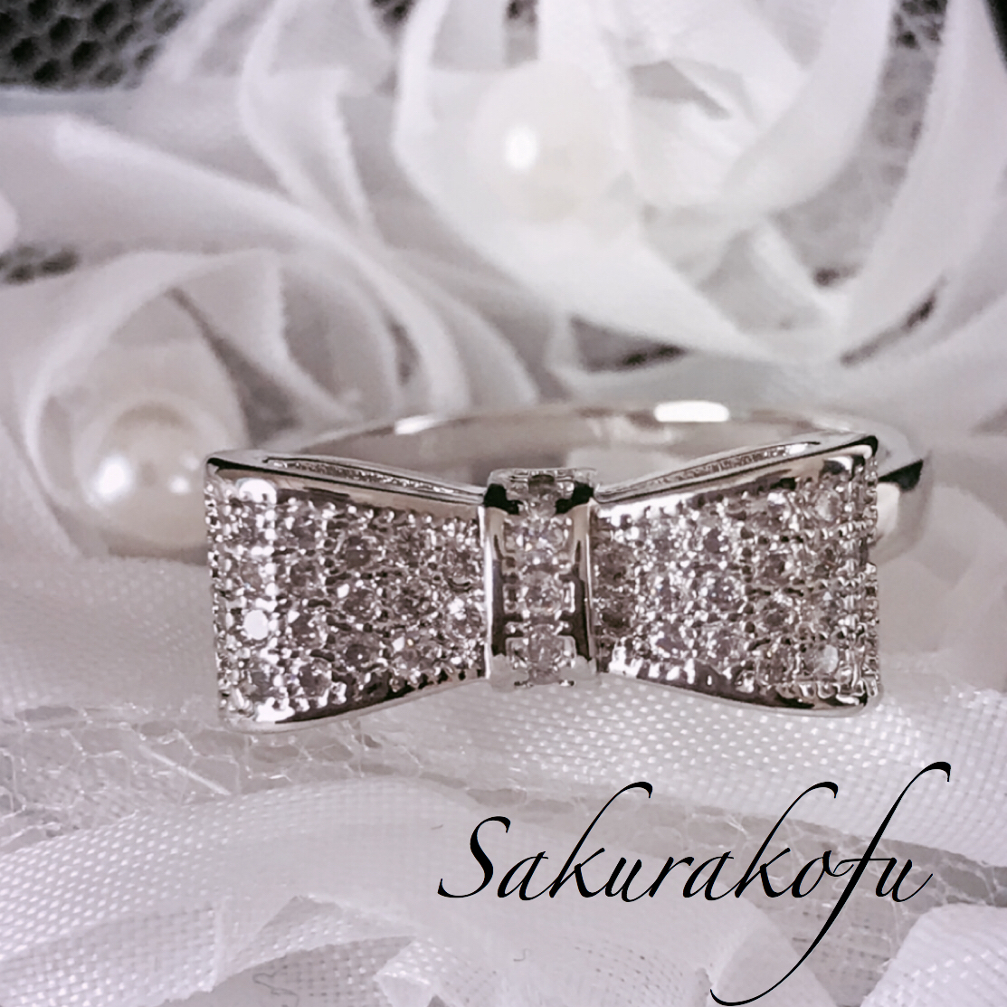 D006 送料無料 レディース 指輪 アクセサリー リボン Ribbon Silver Ring Kawaii