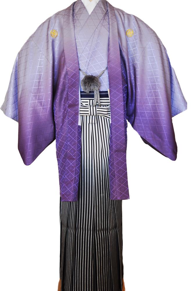 レンタル男性用pb01【紋付袴】紫ぼかし着物と黒銀ぼかし袴のフルセット[往復送料無料] - 画像2