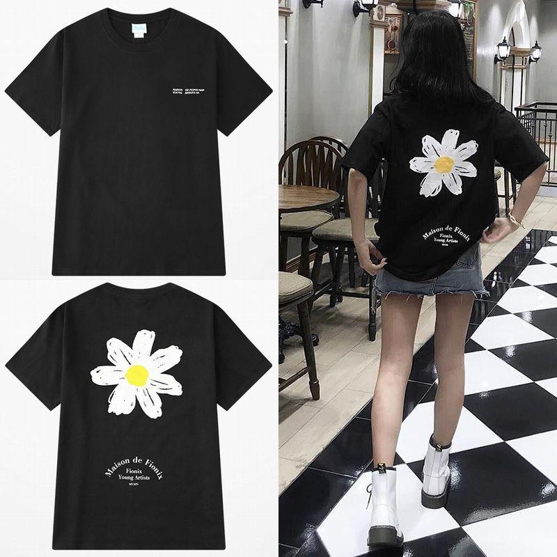 ユニセックス 半袖 Tシャツ メンズ レディース 英字 一片の花 フラワープリント バックプリント オーバーサイズ 大きいサイズ ルーズ ストリート
