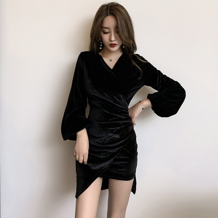 【ワンピース】ファッション切り替え無地セクシーワンピース25079882