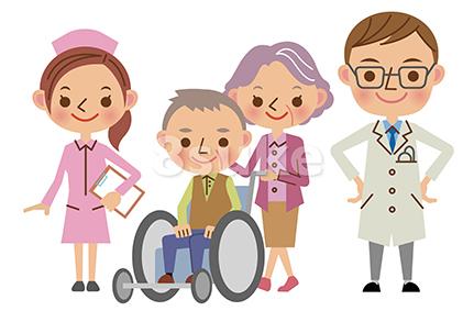 イラスト素材:医療スタッフと患者イメージ/医者・看護師・老夫婦(ベクター・JPG)