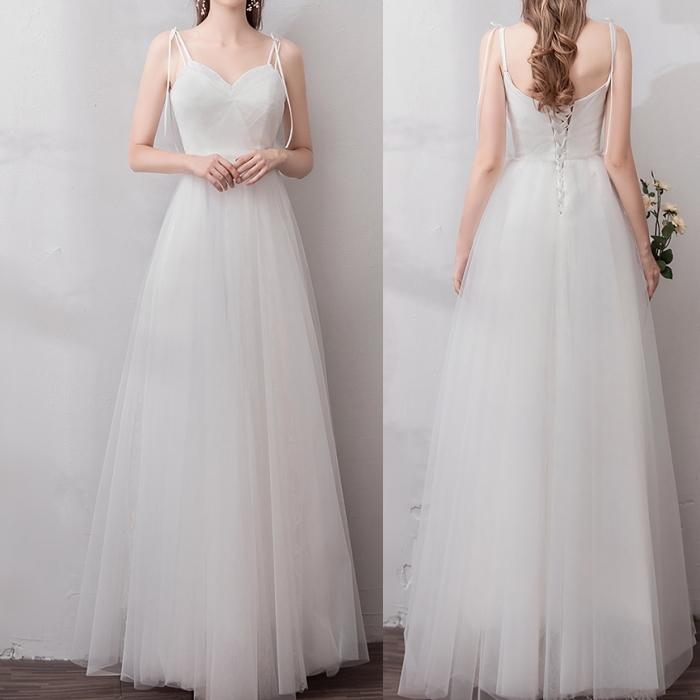 ウエディングドレス レースアップ キャミ 白 ロングドレス
