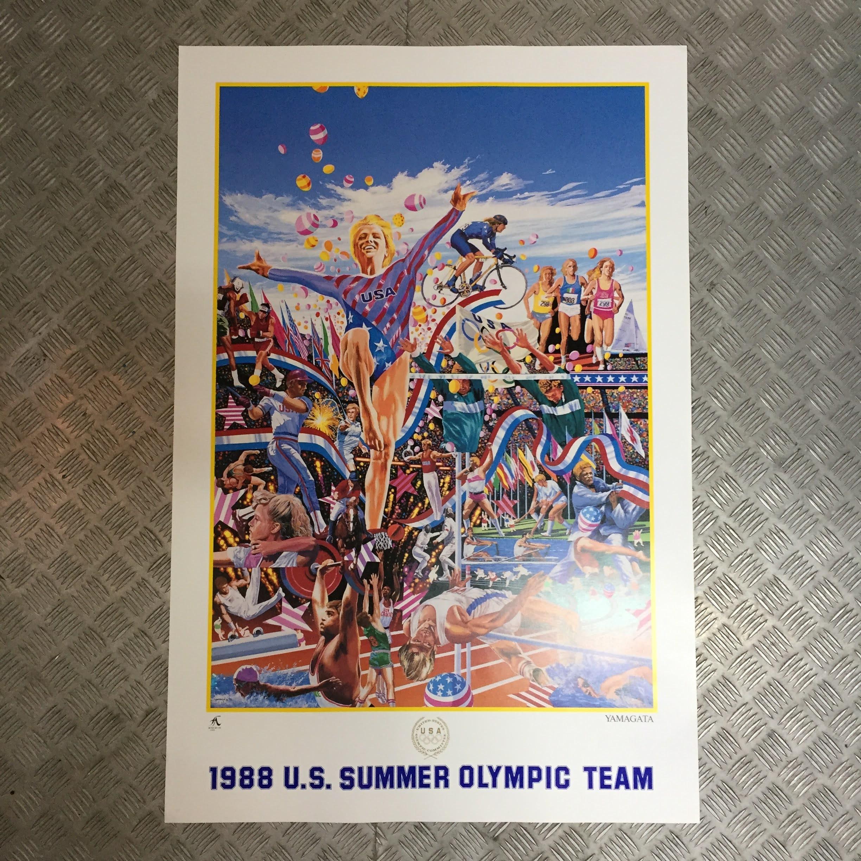 品番0592-3 ヒロ・ヤマガタ 1988 U.S. SUMMER OLYMPIC TEAM アート ポスター ヴィンテージ 011