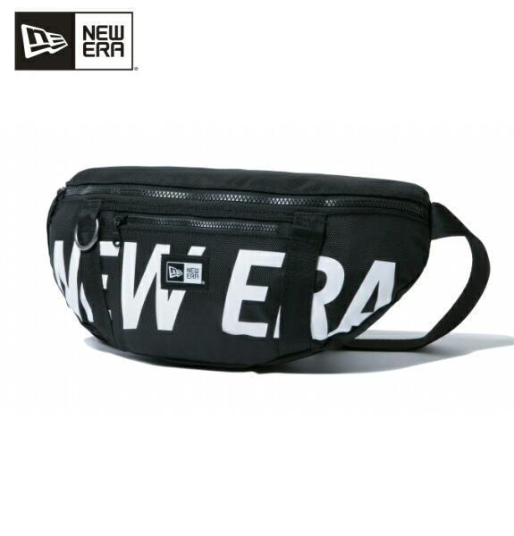 ニューエラ NEW ERA バック メンズ ウェストバッグ プリントロゴ ブラック × ホワイト