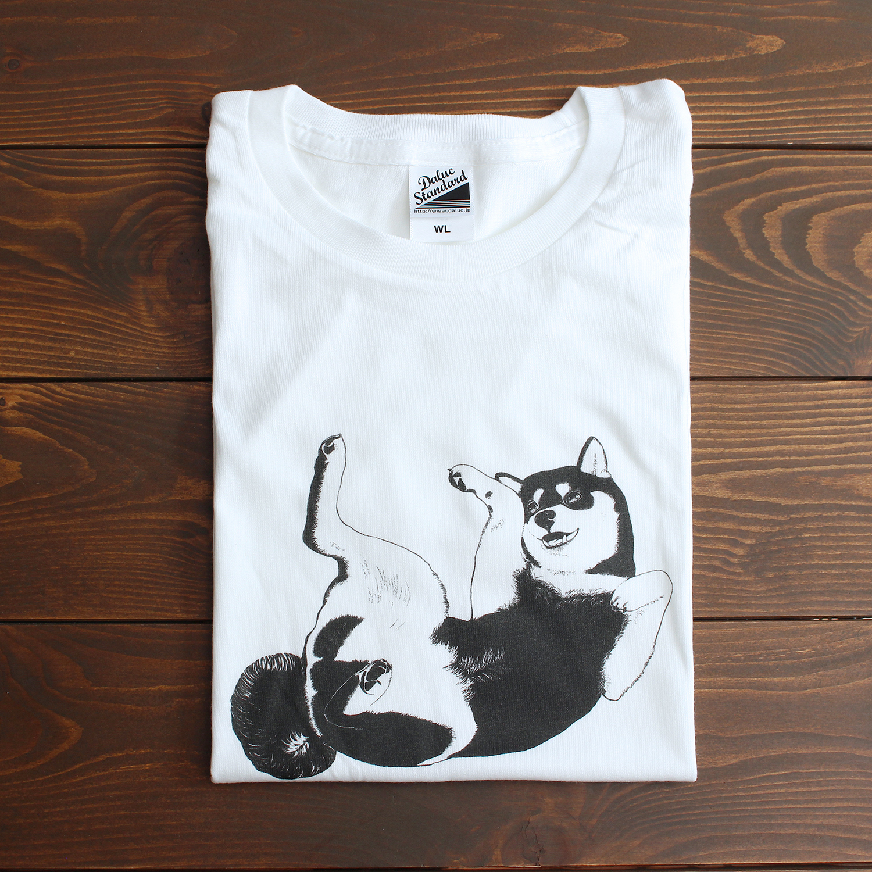 【受注】シンプルかわいい!へそてんポーズの柴犬Tシャツ<レディースサイズ>
