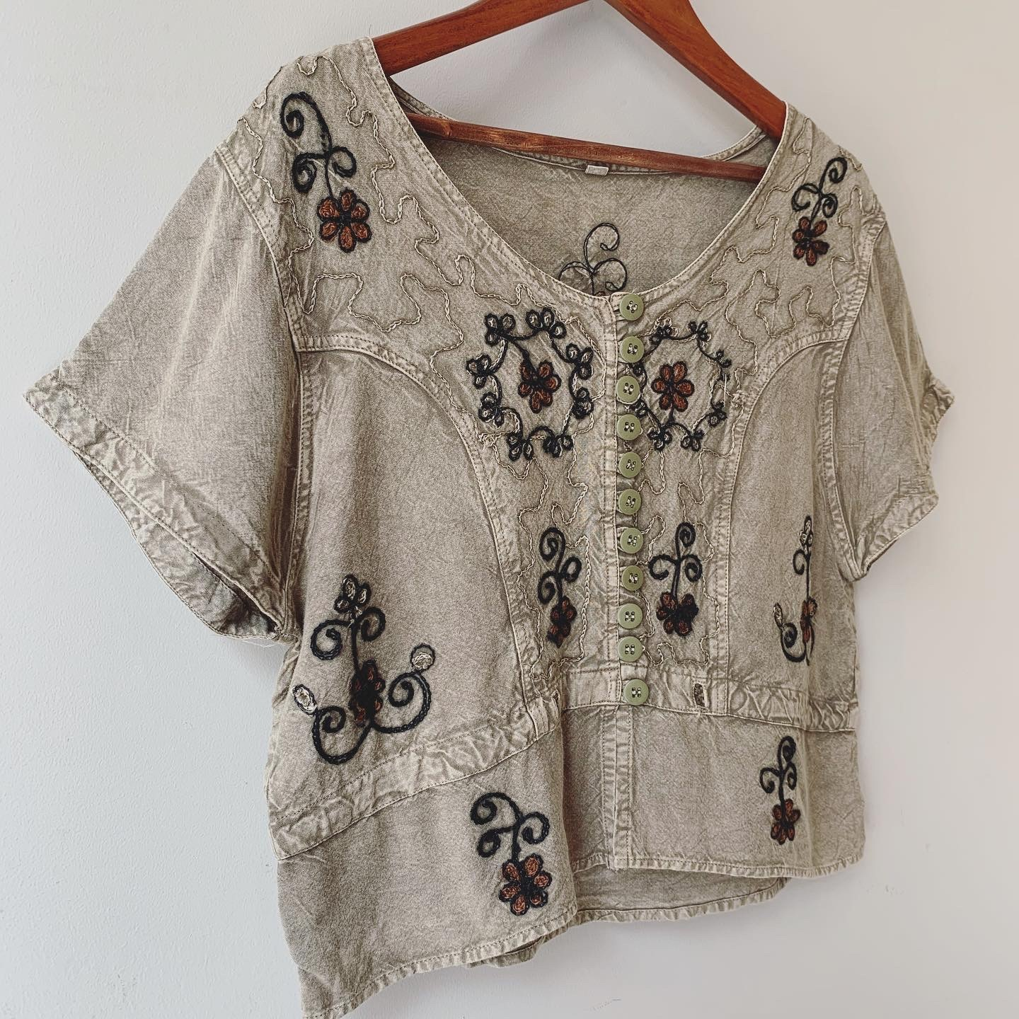 vintage indian embroidery tops