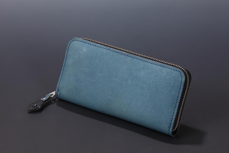 【国産イノシシ革】フルジップ ロングウォレット(Blue)【NOTO Leather使用】