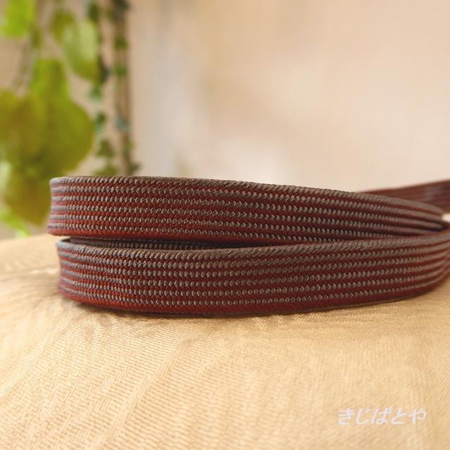 正絹 焦げ茶と紫の三分紐