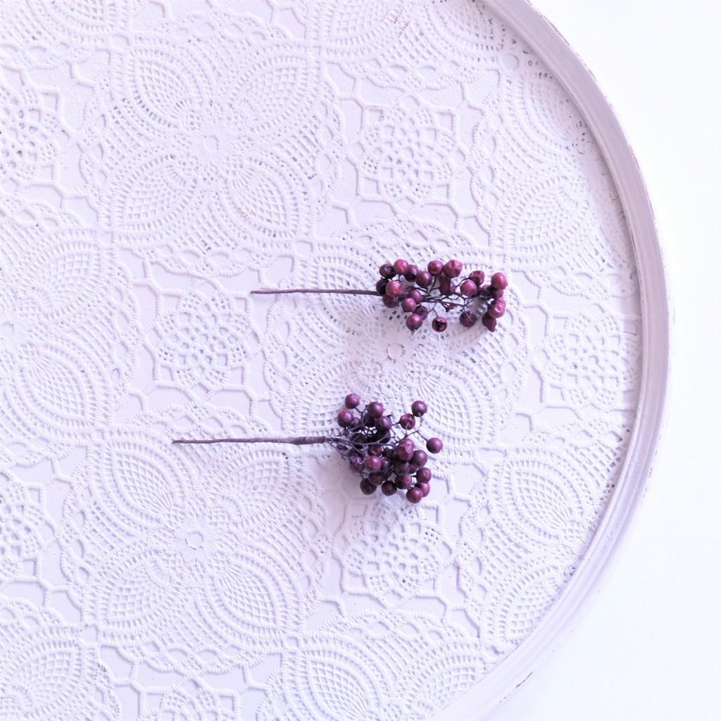 〖 ペッパーベリー・パープル のヘッドドレスパーツ2本 〗お好きなプリザ花材をカスタムメイドでお作り致します