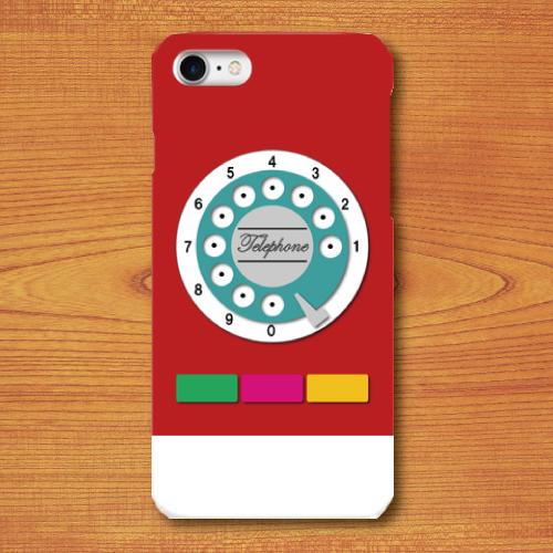 昭和レトロ/おもちゃ電話調/レトロ玩具調/赤色(レッド)/iPhoneスマホケース(ハードケース)