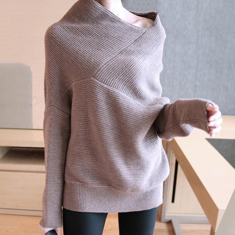 【トップス】ファッション無地切り替え不規則ドルマンスリーブセーター