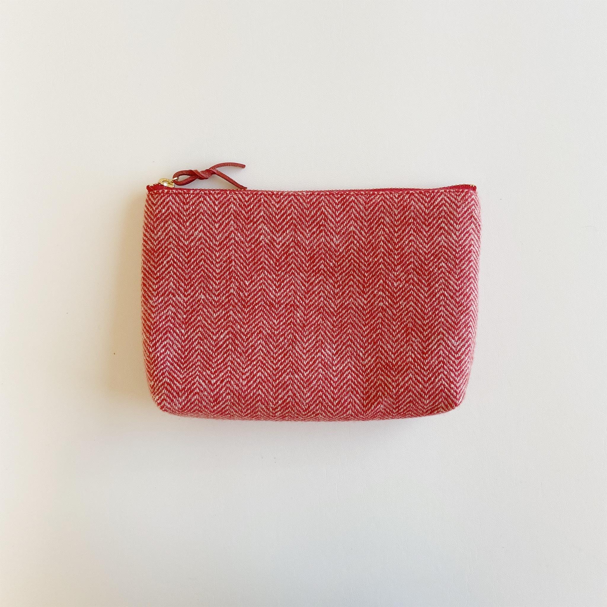 手織りメイクポーチ (Make up bag Cashmere red herringbone)