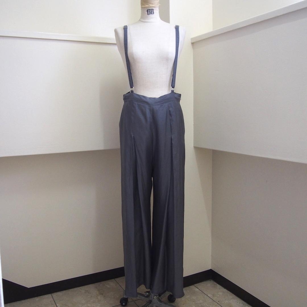【hippiness】cupro suspender pants(gray)/ 【ヒッピネス】キュプラ サスペンダー パンツ (グレー)