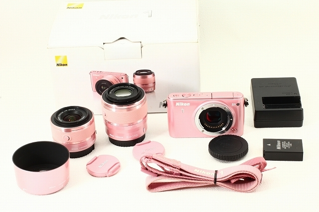 Nikonニコン 1 S1 Wズームレンズキット ピンク 元箱付き 極上品ランク