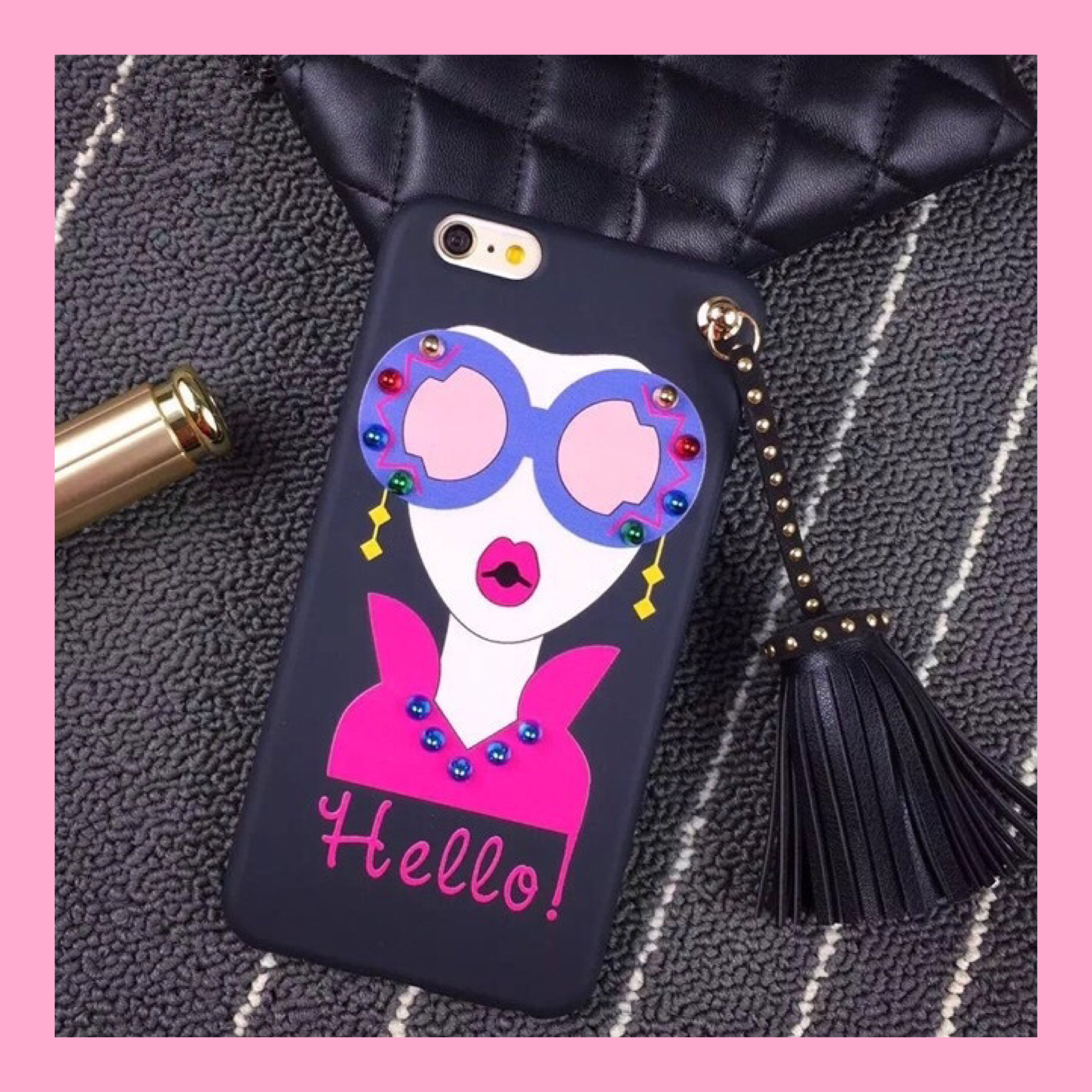 送料無料!tassel girl iPhone case『Hello』
