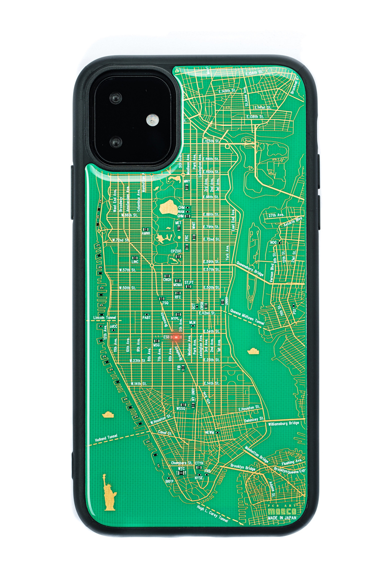 FLASH NY回路地図 iPhone 11 ケース  緑【東京回路線図A5クリアファイルをプレゼント】