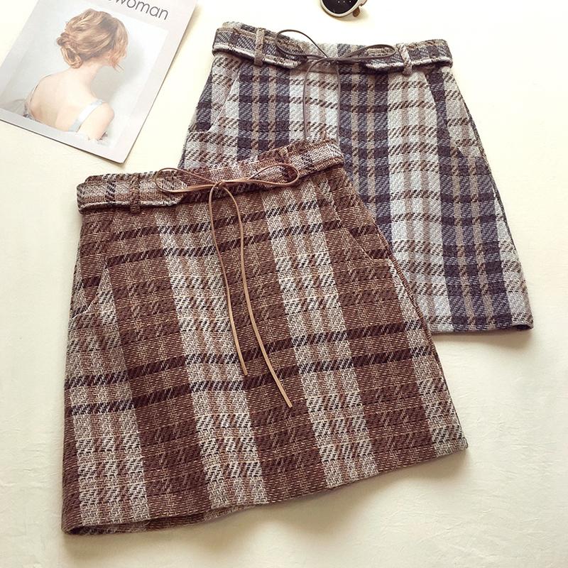 【即納】【送料無料】リボンベルト付き ♡ チェック柄 ミニスカート 秋色