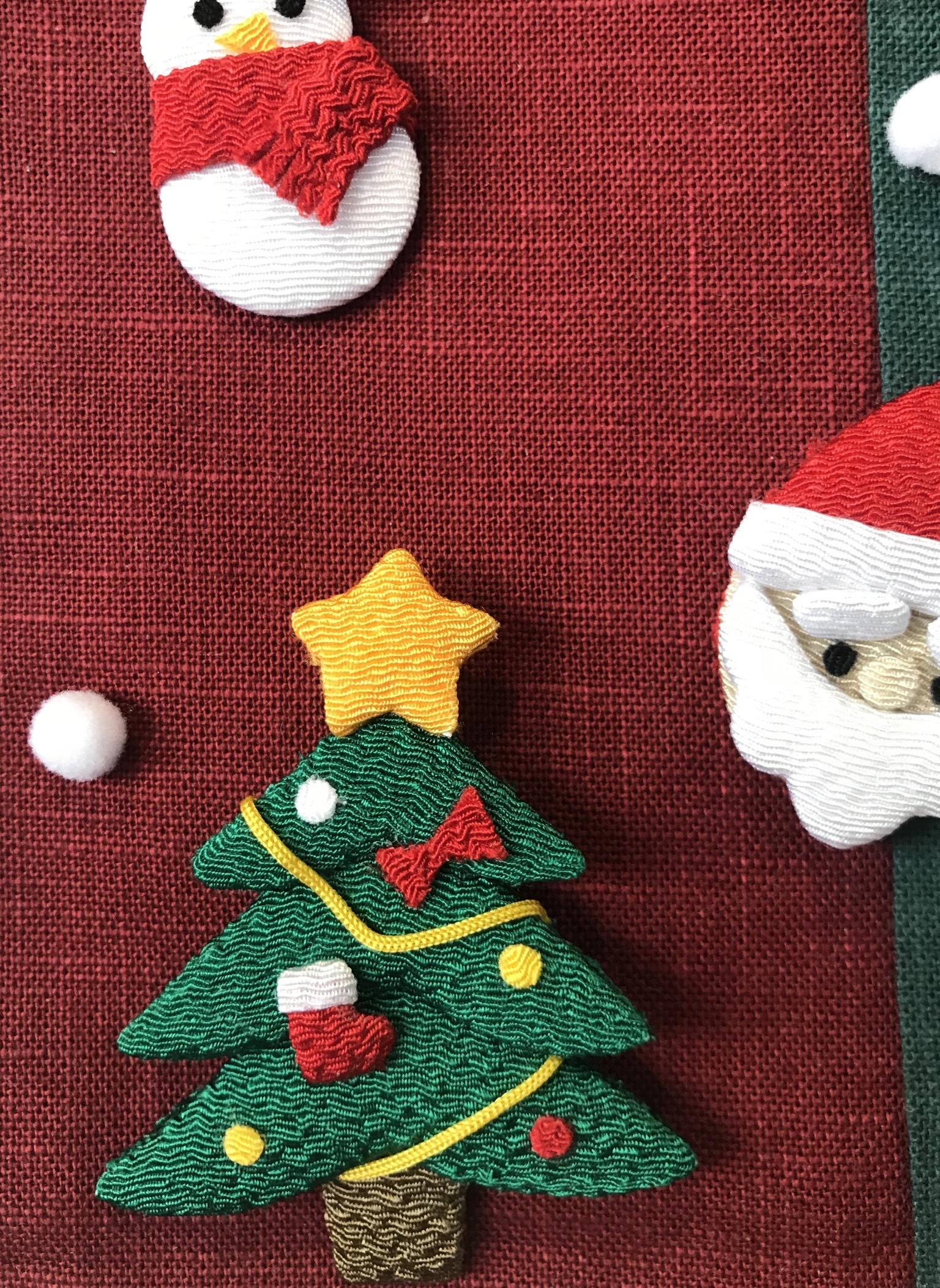クリスマス☆ちりめん押絵ミニタペストリー