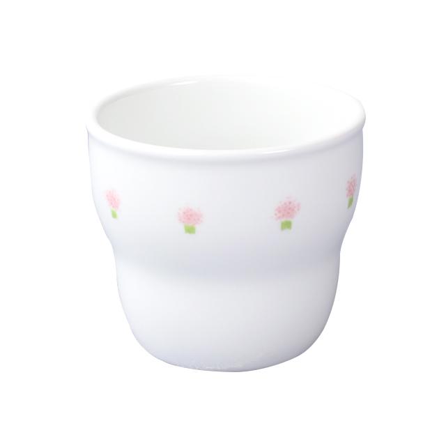 【2025-1060】強化磁器 持ちやすい幼児用カップ(Φ7.4cm×H6.6cm/満水170ml)  花の冠(ピンク)