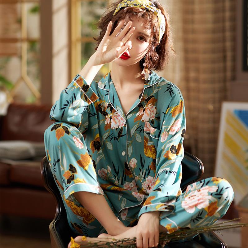 【パジャマ】高級感 カジュアル 折り襟 プリント 薄い 足首丈パジャマ33601682