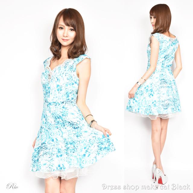 SALE (Sサイズ) ミニドレス  ビジュー刺繍 ドレス パーティー フレアミニワンピースキャバドレス 二次会 0192