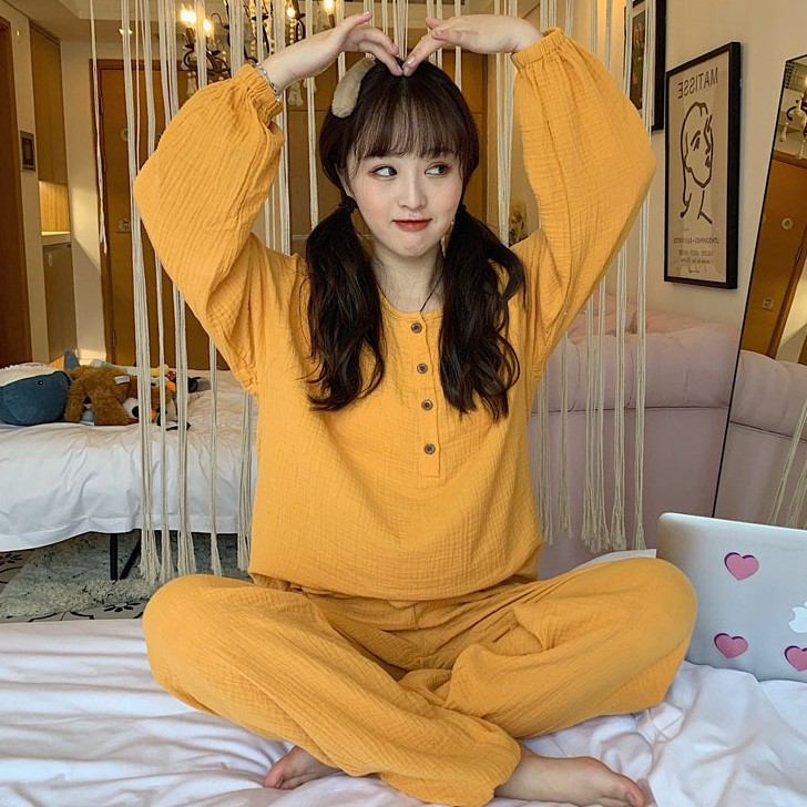 【パジャマ】韓国系2点セット可愛いゆったり無地プルオーバーパジャマ25635358