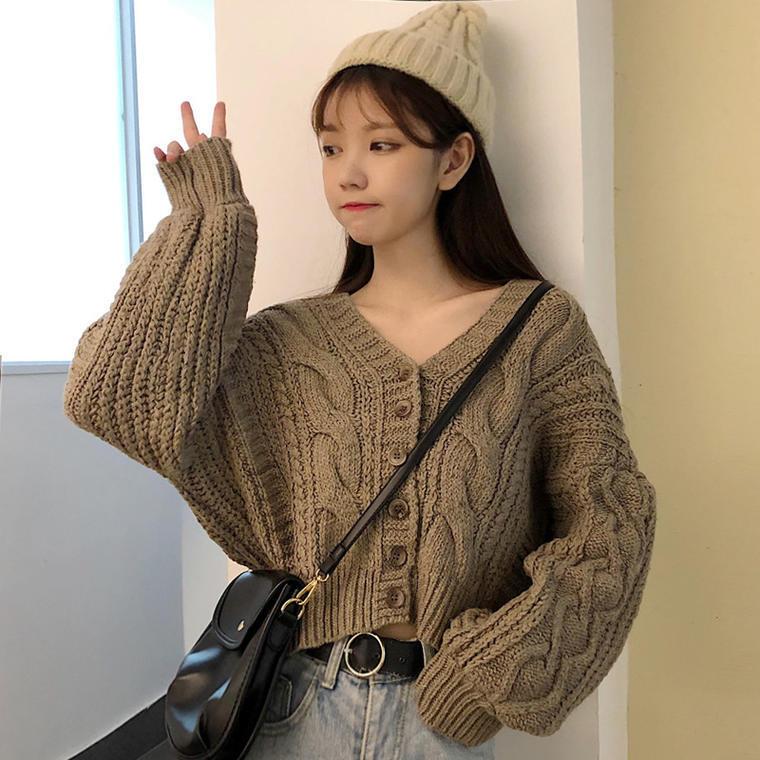 【送料無料】くすみカラー ♡ 大人可愛い きれいめ カジュアル オーバーサイズ  ケーブル編み ニット カーディガン