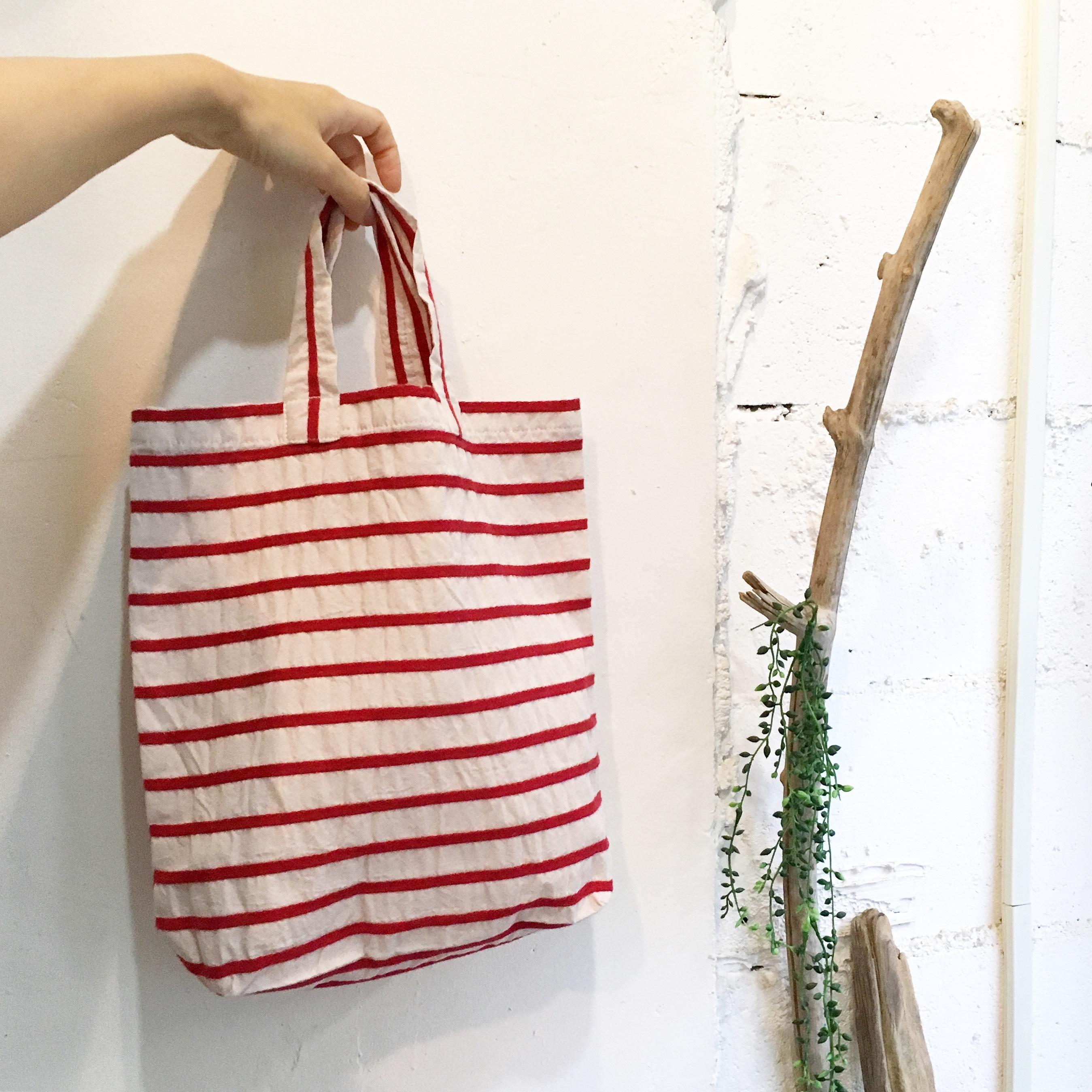【maco】トートbag Mサイズ(赤ボーダー)
