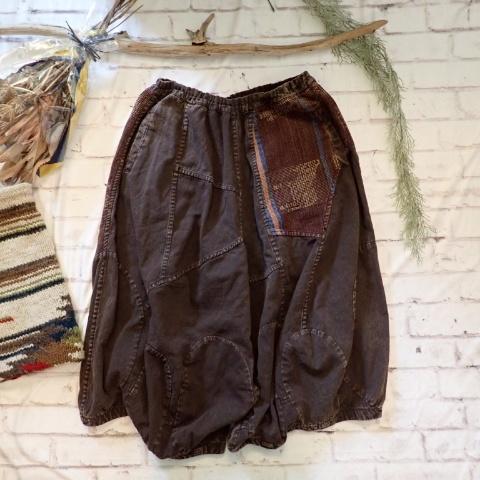 チェンマイ ナガ族の織物がついたダボダボパンツ