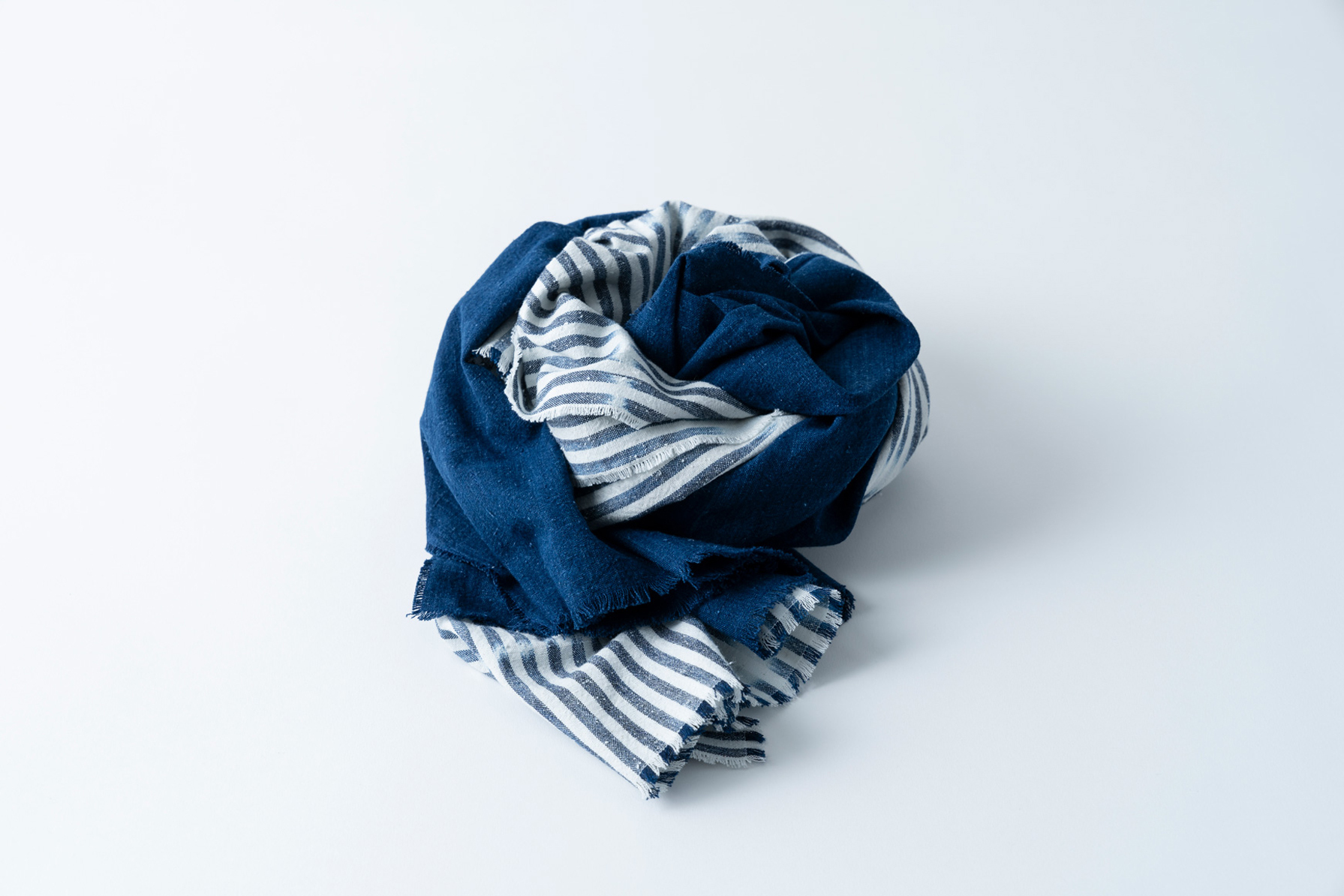 007. 白波 × 藍 - bicolour whitecaps | stole