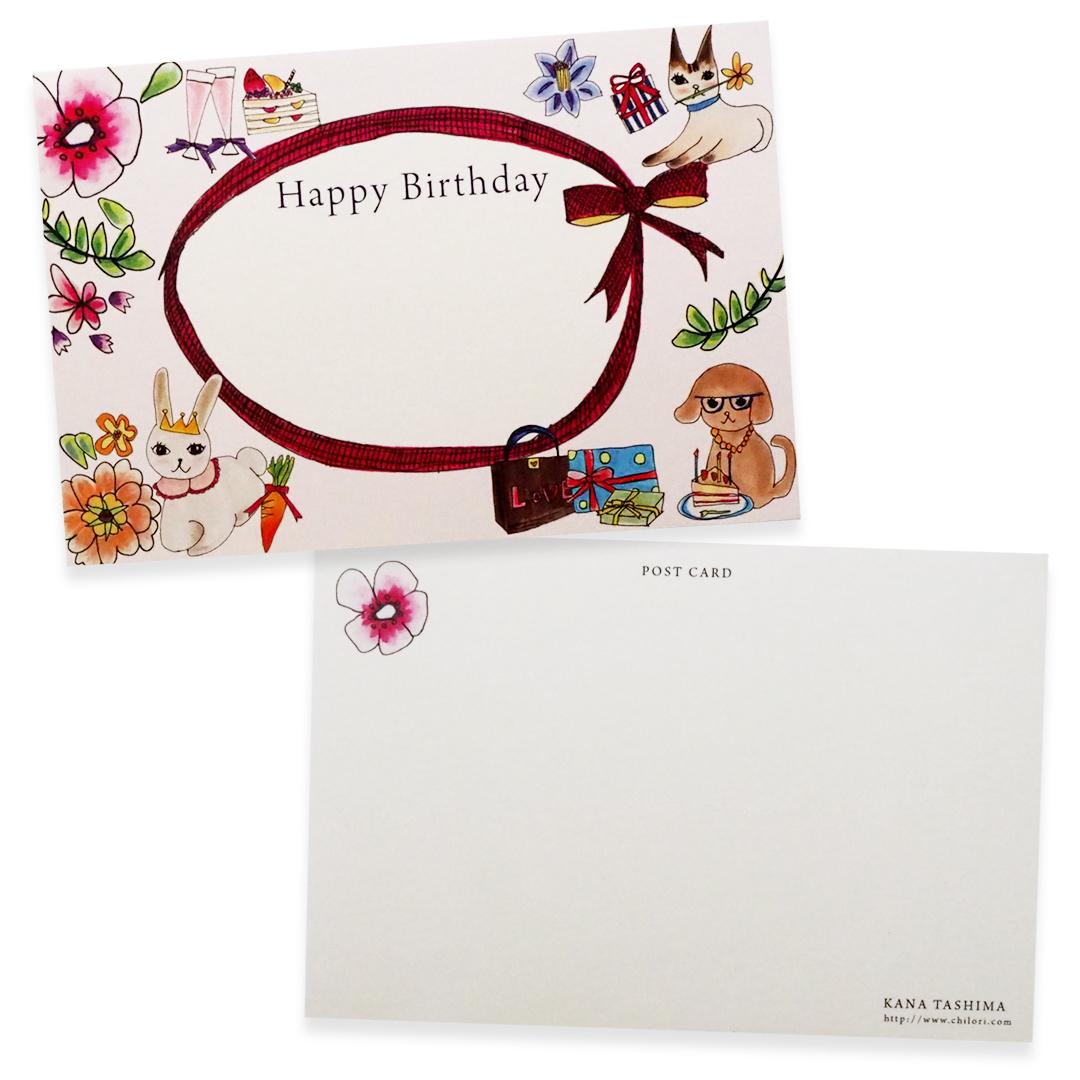 ポストカードセット【3デザイン×2枚】洋服、ネコ、お誕生日の手描きイラスト