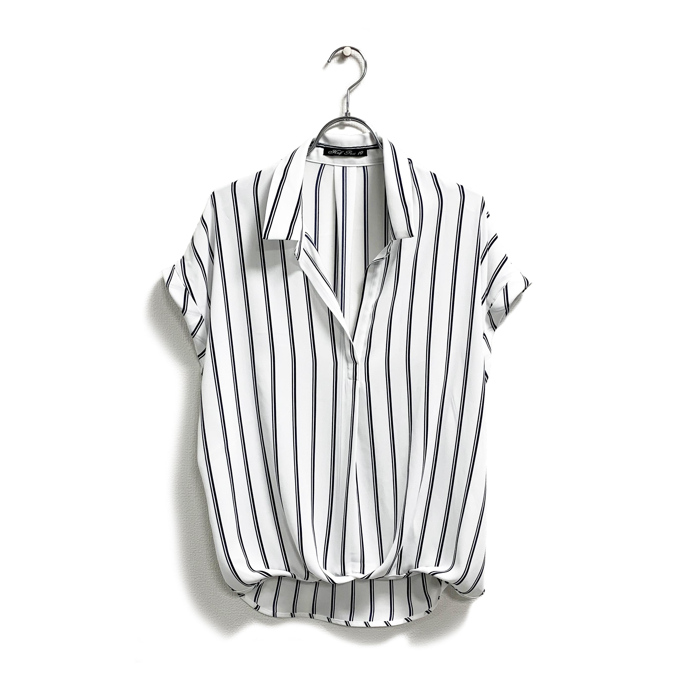 ストレッチジョーゼット・襟付き裾タックプルオーバー